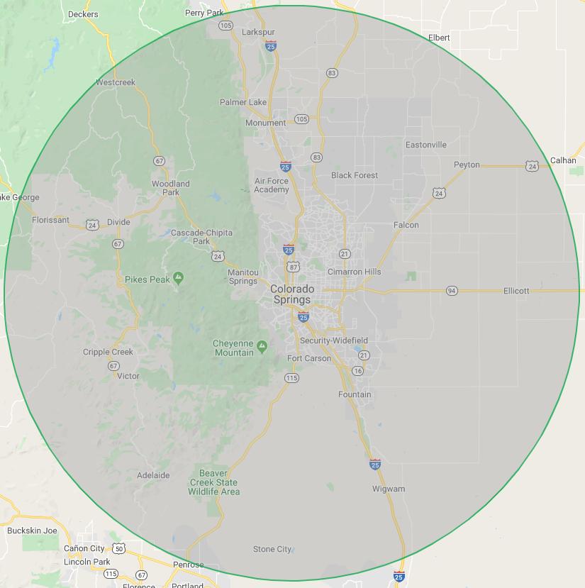 30-mile radius around Colorado Springs